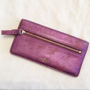 Cole Haan Purple Distressed Pebbled Leather Wallet